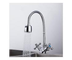 FRAP nbsp;F4319 nbsp;Hohe nbsp;Qualität nbsp;Küche nbsp;Schreibtisch Montiert Silber Doppel Griffe Waschbecken Wasserhahn Einlochmontage Mixer Becken Wasserhahn-Küche-Wasserhahn