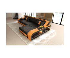 Sofa Arezzo L Form schwarz orange