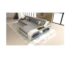 Sofa Arezzo L Form grau weiss