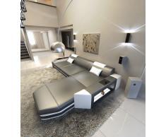 Ledersofa Prato als L Form in den Farben grau-weiss