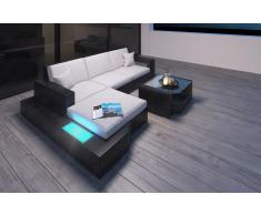 Designer Rattan Sofa Messana als L Form mit Beleuchtung