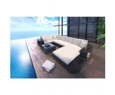 Poly Rattan Sofa Set WAVE mit LED