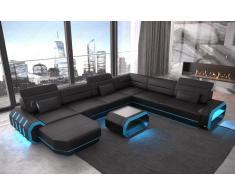 Leder Wohnlandschaft Roma XXL als U Form Sofa mit Beleuchtung