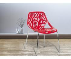 Gartenstuhl - Plastikstuhl rot - Stuhl aus Kunststoff - Chromfüsse - BLEEKER