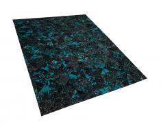 Teppich Leder schwarz/türkis 160 x 230 cm ATALAN