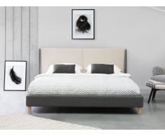 Bett Grau-Beige - Doppelbett 160x200 cm - Ehebett - Polsterbett - VALENCE