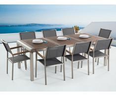 Gartenmöbel Set Edelstahl mit Holzplatte 220 x 100 cm 8-Sitzer Stühle Textilbespannung grau GROSSETO
