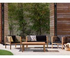Gartenmöbel Braun - Balkonmöbel - Terrassenmöbel - Tisch + Bank + 2 Stühle - Holz - PACIFIC