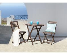 Gartenmöbel Braun - Balkonmöbel - Terrassenmöbel - Holzmöbel - Tisch + 2 Stühle – FIJI