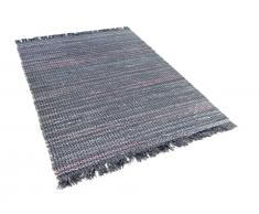 Teppich Grau - 140x200 cm - Baumwolle - Läufer - Vorlage - Wohnzimmerteppich - BESNI