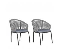 Gartenstuhl grau/schwarz 2er Set PALMI