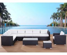 Lounge Set Rattan braun 8-Sitzer Auflagen beige XXL