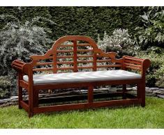 Gartenbank Holz 180 cm mit Auflage grau-beiges Zickzack Muster TOSCANA MARLBORO