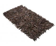 Teppich braun - 160x230 cm - Shaggy - Leder - MUT