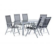 Aluminium Gartenmöbel Set - Tisch 160cm - 6 Stühle - Gartentisch - CATANIA