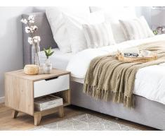 Nachttisch weiss/heller Holzfarbton SPENCER