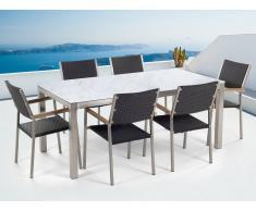 Gartenmöbel Set weisse Keramik 180 x 90 cm mit 6 Stühlen Rattan schwarz GROSSETO