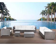 Gartenmöbel Set Rattan grau 8-Sitzer Auflagen beige MAESTRO