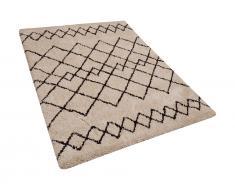 Teppich beige/schwarz 160 x 230 cm Shaggy HAVSA