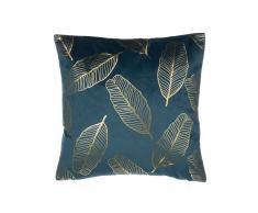 Dekokissen Blätter Samtstoff blau 45 x 45 cm FREESIA
