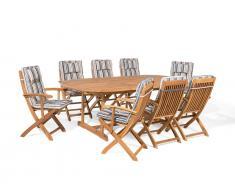Gartenmöbel Set Holz 8-Sitzer mit Auflagen dunkelblau-beige gestreift MAUI