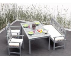 Gartenmöbel Set Holz grau 4-Sitzer Auflagen beige MODICA