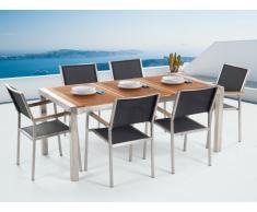 Gartenmöbel Set Mahagoniholz 180 cm 6-Sitzer Textilbespannung schwarz GROSSETO