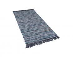 Teppich Grau - 80x150 cm - Baumwolle - Läufer - Vorlage - Wohnzimmerteppich - BESNI