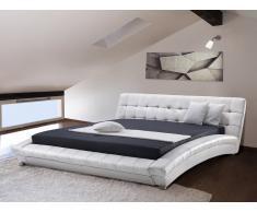 Bett - Lederbett 180x200 cm - Ehebett - Doppelbett inkl. stabiler Lattenrost - LILLE weiss