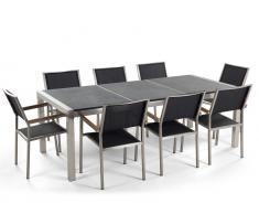 Gartenmöbel schwarz geflammt - Granit Edelstahltisch 220cm dreifach mit 8 x Stühle mit Textilsitzfläche - GROSSETO
