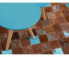 Teppich braun-blau 160 x 230 cm Leder ALIAGA