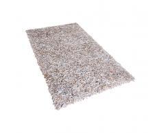 Shaggy-Teppich Hellbeige - Lederteppich - Vorlage - Läufer - Leder - 160x230 cm - MUT