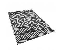 Teppich Leder schwarz/weiß 140 x 200 cm KANGAL