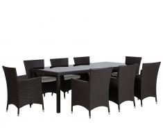 Gartenmöbel Set Rattan dunkelbraun 220 x 100 cm 8-Sitzer Auflagen weiss ITALY