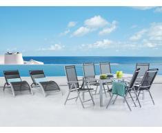 Aluminium Gartenmöbel Set - Tisch 160cm - 6 Stühle - 2 Liegestühle - Gartentisch - CATANIA