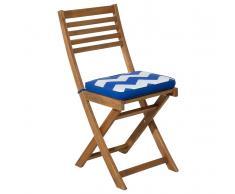 Auflage für Gartenstuhl FIJI im blauen Zickzack Muster 29 x 38 x 5 cm