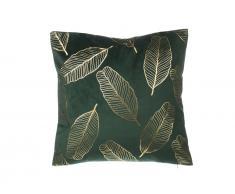 Dekokissen Blätter Samtstoff dunkelgrün 45 x 45 cm FREESIA