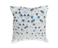Dekokissen Dreiecke blau/grau 45 x 45 cm CLEOME