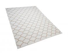 Teppich beige 160 x 230 cm marokkanisches Muster zweiseitig Kurzflor AKSU