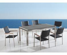 Gartenmöbel grau poliert - Granit Edelstahltisch 200cm dreifach mit 6 x Rattan Stühle - GROSSETO