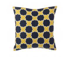 Dekokissen marokkanisches Muster Baumwolle gelb/blau 45 x 45 cm MUSCARI