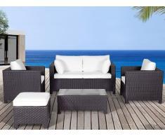 Lounge Set Rattan dunkelbraun 4-Sitzer Auflagen beige MILANO