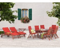 Ausziehbarer Gartentisch + 6 Stühle + 2 Liegen + Teetisch + Terracotta Auflagen - TOSCANA