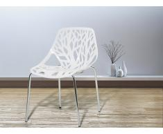 Gartenstuhl - Plastikstuhl weiss - Stuhl aus Kunststoff - Chromfüsse - BLEEKER