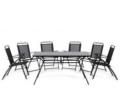 Gartenmöbel Schwarz - Balkonmöbel - Terrassenmöbel - Tisch + 6 Stühle - Sitzgruppe - LIVO