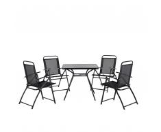 Gartenmöbel Schwarz - Balkonmöbel - Terrassenmöbel - Tisch + 4 Stühle - Sitzgruppe - LIVO