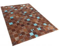 Teppich Braun-Blau - Patchwork - Leder - Fell - Läufer - Fellteppich - 140x200 cm - ALIAGA