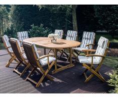 Gartenmöbel Set Holz 8-Sitzer mit Auflagen beige-grün gestreift MAUI