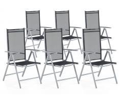 Gartenstuhl schwarz 6er Set Aluminium verstellbar CATANIA