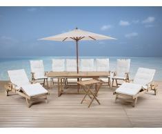 Gartenmöbel Set aus Holz - Tisch eckig - 6x Stuhl - 2x Liege - Sonnenschirm - RIVIERA beige